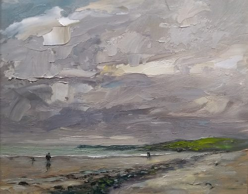 skerries south beach oil painting