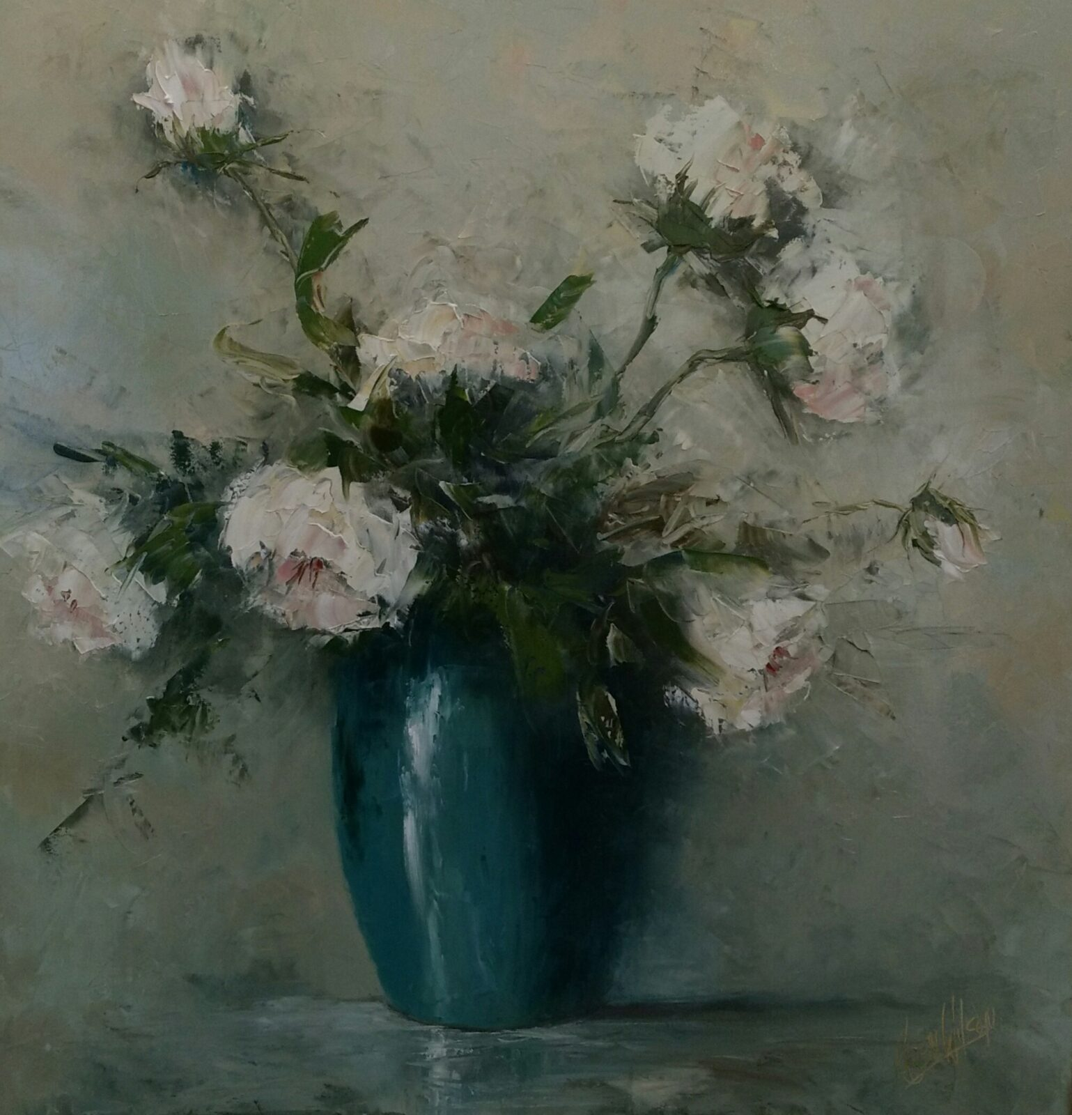 white rose oil on canvas