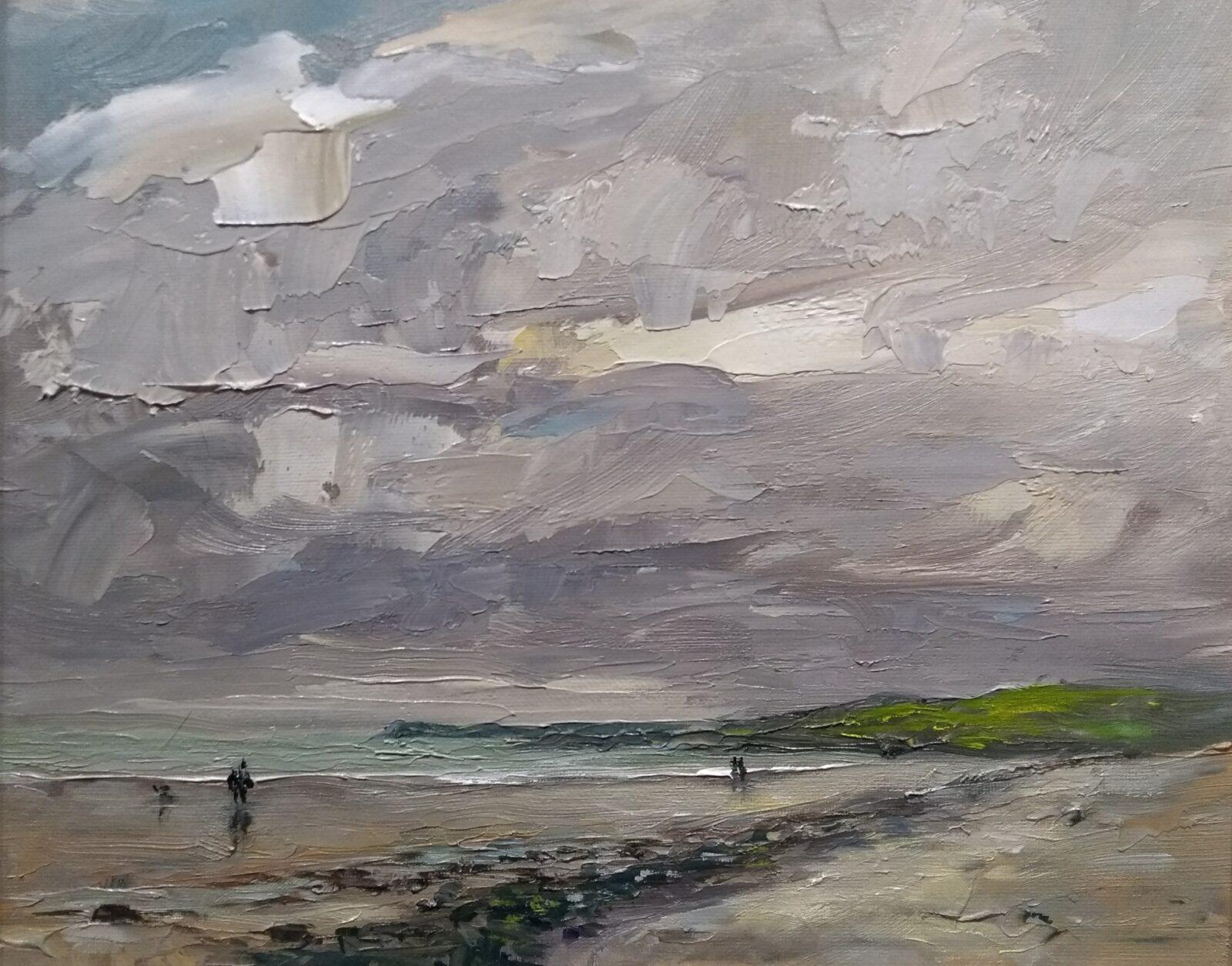 skerries south beach oil painting