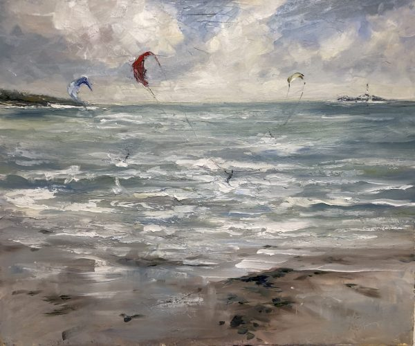 Kite Surfers Skerries by Karen Wilson