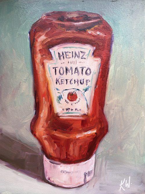 tomato sauce bottle still life painting