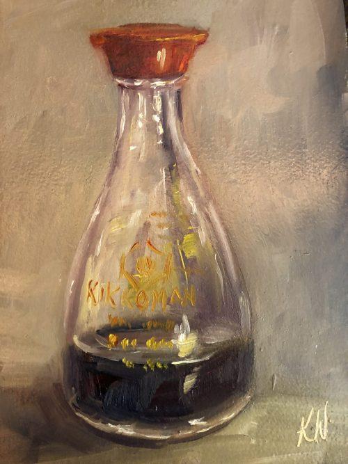 still life - kikkoman soy sauce bottle - painted by Irish artist Karen Wilson