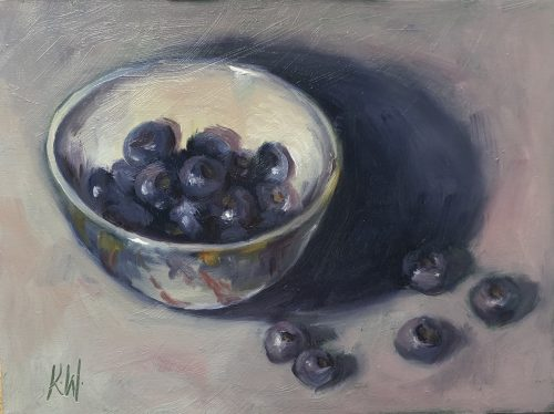 blueberries in ceramic bowl - still life in oils by Irish artist Karen Wilson
