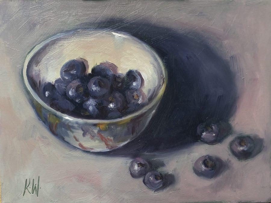 blueberries in ceramic bowl - still life in oils by Irish artist Karen Wilson
