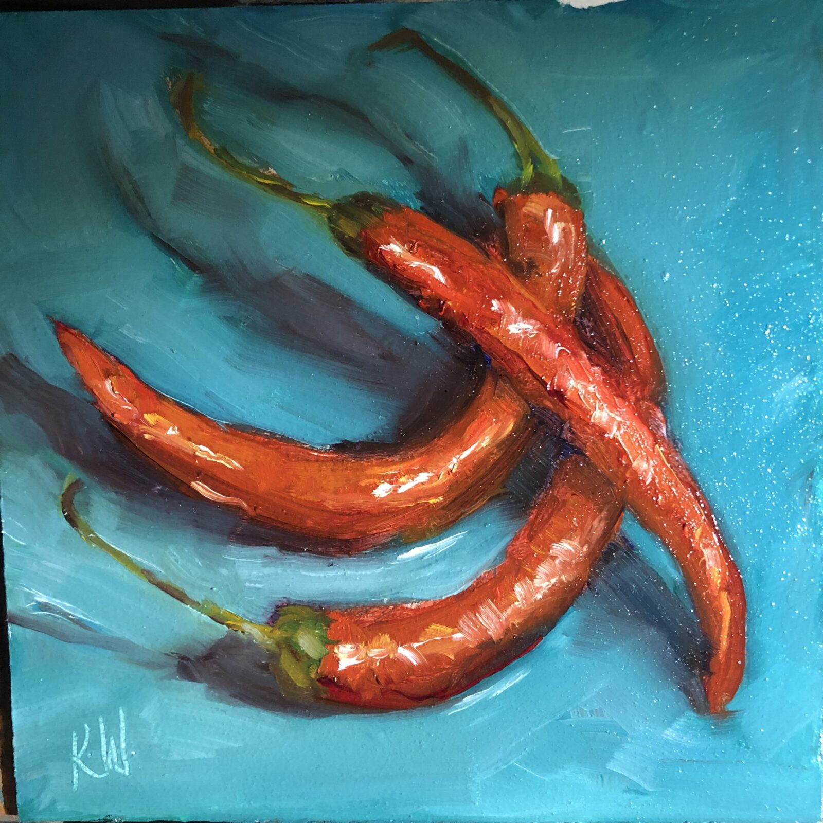 three red chillies still life painting