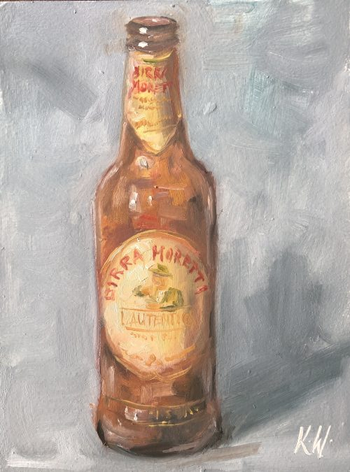 Birra Moretti beer bottle still life painting in oil by Irish artist Karen Wilson