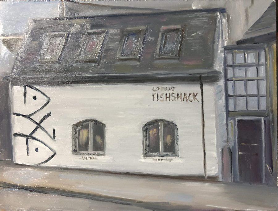 Lifeboat Fishshack Restuarant original oil painting