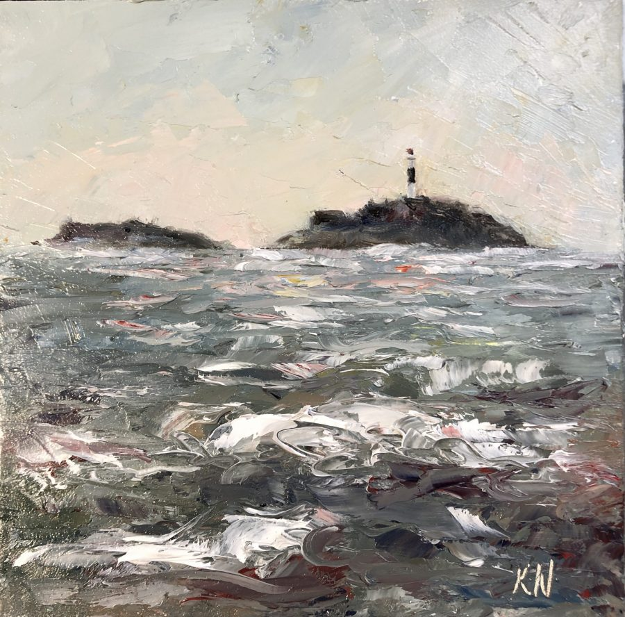 Rockabill Lighthouse in a stormy sea original oil painting