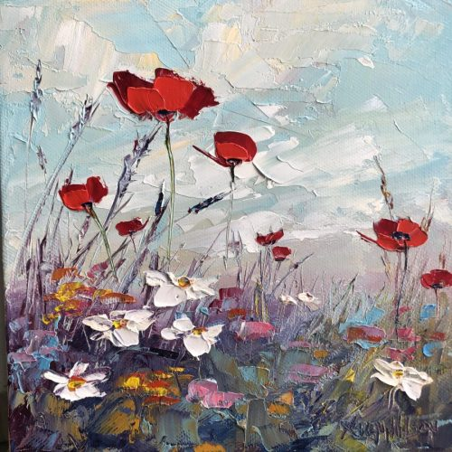 poppy meadow oil painting