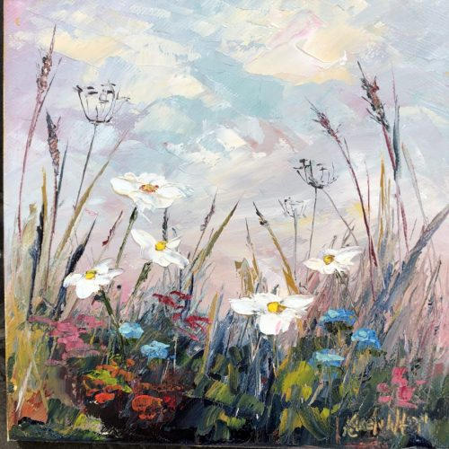daisy meadow painting in oils