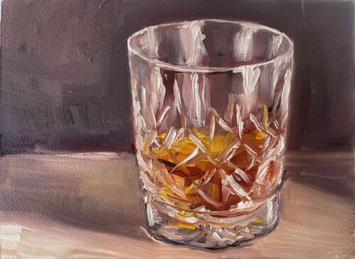 whiskey in Waterford crystal glass